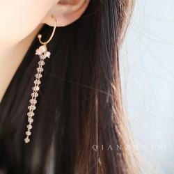 泊心云 超仙水晶纯银耳环 S925纯银针 新款潮韩国气质长款流苏耳坠 网红时尚珍珠耳钉 Q385-96