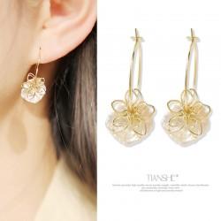 韩国气质百搭天然淡水珍珠耳钉 显脸瘦的耳环女 超仙网红花朵耳饰 T032-75