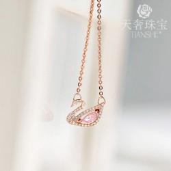 2019小红书爆款粉色水晶天鹅项链锁骨链 情人节送女友礼物 T030-138
