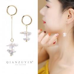 泊心云  韩版S925纯银针耳钉女 长款气质不对称耳坠时尚珍珠个性流苏耳环 Q410-102