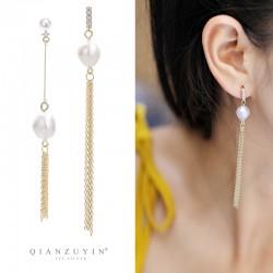 泊心云  网红爆款耳不对称珍珠耳钉S925纯银针 气质长款流苏显脸瘦耳环 Q426-94