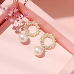 千族银 银饰品牌 韩国时尚圆圈珍珠耳环女S925纯银针个性简约网红气质百搭潮耳 Q458-74
