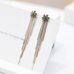 千族银 银饰品牌 2019新款潮S925纯银针百搭气质星星耳钉女 韩国个性简约流苏长款耳环 Q456-74