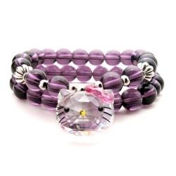 泊心云 Hello Kitty KT猫奥地利水晶卡通猫头蝴蝶结紫水晶手链 2014765