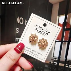 韩版时尚百搭铜锆石花朵花瓣耳钉耳环网红耳饰品防过敏 K340-60