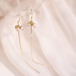 千族银 银饰品牌  简约淡水珍珠流苏耳坠女 珍珠网红耳饰长款气质百搭耳环潮S925纯银针 Q466-80