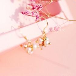 千族银 银饰品牌  925纯银耳钩网红珍珠耳坠女气质 韩国个性简约学生设计感小众短款耳环 Q467-80