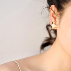韩国别致三叶螺旋花朵甜美珍珠耳钉 清新自然简约耳饰品 女 5324-48