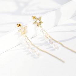 千族银 原创五角星镂空长款流苏耳坠耳环女韩国潮气质耳钉925银针防过敏 Q491-54