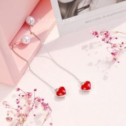 千族银 S925纯银双面红色桃心耳线长款心形耳环女韩国气质爱心流苏耳坠 Q494-54
