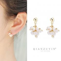 千族银 韩国小众设计感耳钉S925银针 气质简约百搭珍珠流苏耳环女耳坠 Q485-78