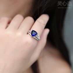 灵心造 跨境wish热卖欧美流行宝蓝色爱心形锆石指环个性锆石戒指女亚马逊 K368-50