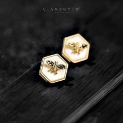 千族银 2020新款潮 S925银针几何六边形蜜蜂贝壳耳钉 日韩时尚个性耳饰女 Q521-78