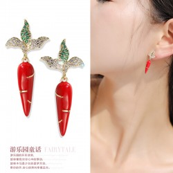 千族银 可爱胡萝卜耳钉女 2020新款潮设计感耳环 小众网红洋气学生清新耳饰 Q530-88