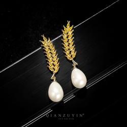 千族银 新款时尚珍珠麦穗耳环 银针水晶锆石长款耳钉 2020气质耳坠女 Q526-123