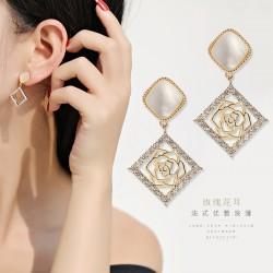 千族银 S925银针长款气质镂空花朵耳环耳饰2020新款潮高级感网红耳钉 Q529-84
