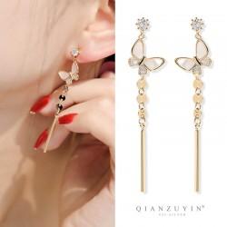 千族银 新款潮时尚设计感贝壳蝴蝶925银针耳钉女 简约气质韩国个性长款耳环 Q532-90