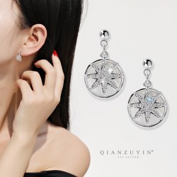 千族银 S925银针耳饰女 贝壳八芒星耳环 高级感小众精致超仙短款耳钉 Q535-88