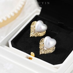 千族银 潮流爆款小香风S925银针耳钉 巢形底座包裹着珍珠爱心温柔 Q550-70