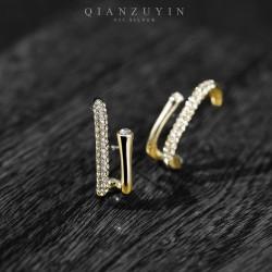 千族银 欧美大牌不规则耳钉925银针 满钻覆盖不显死板 Q549-70