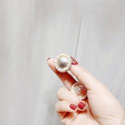 泊心云 欧美夸张风S925银针耳钉复古蚕丝纹路淡水珍珠点缀精致大方 B015-90