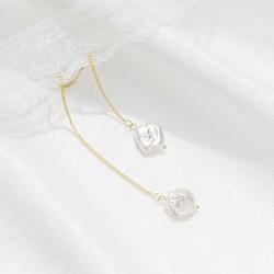 泊心云 S925纯银防过敏耳钉 天然巴洛克淡水珍珠不规则吊坠简约大方B016-80