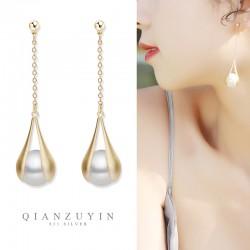 千族银 2020新款韩风长款法式S925银针珍珠耳坠防过敏耳环女Q555-56