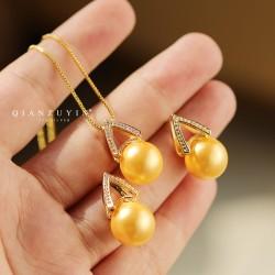 2021新款潮S925纯银珍珠耳钉项链网红同款气质套装时尚首饰 Q484