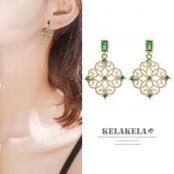 灵心造 简约小巧S925银绿宝石精致镂空花边轻奢高级感网红耳环女 K380-75