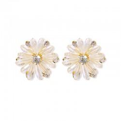 千族银 2020新款时尚 韩国气质925纯银耳环水晶菊花手工设计一件代发 Q562-45