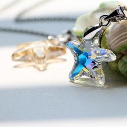 天奢TIANSHE 奥地利水晶吊坠 气质女款超闪亮的五角海星项链锁骨链 2015736