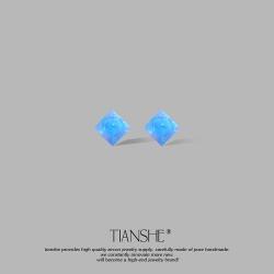 泊心云 蓝色少女设计感S925纯银耳针 简约气质欧珀水晶耳钉超仙小众复古耳环 T039-45