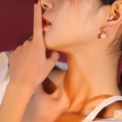 泊心云  高档时尚百搭简约贝珠耳钉 韩剧同款首饰韩国珍珠耳环 女 X100-60