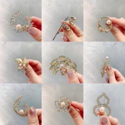 西凉妃子 可爱小动物滴油天然淡水珍珠胸针 复古锆石胸花韩版饰品衣饰 空托