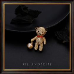 西凉妃子 欧美个性时尚铜微镶锆石可爱小熊淡水珍珠胸针 西装胸花领针厂家批发 X4031-200