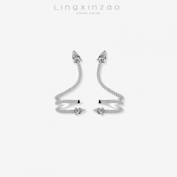 灵心造  欧美新品 创意蛇形S925银耳钉女 个性灵蛇镶锆石耳环异域风格耳饰 厂家直销 K403-130