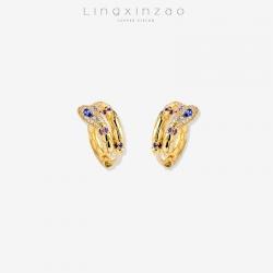 灵心造   欧美跨境新款 时尚潮流异域灵蛇耳钉 创意设计金色镶锆石耳扣夸张耳环耳饰批发 K405-90